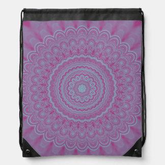 Geometric flower mandala drawstring bag