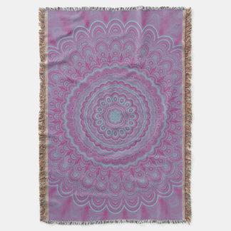 Geometric flower mandala throw blanket