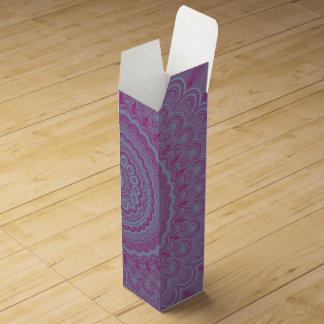 Geometric flower mandala wine gift box