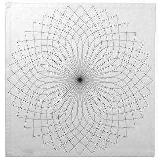 Geometric flower pattern, black & white napkin