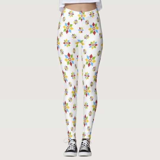 Geometric flowers pattern leggings