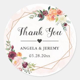 Geometric Frame Floral Wedding Favor Thank You Classic Round Sticker