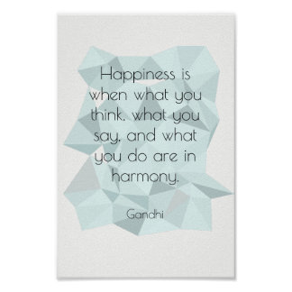 Geometric Gandhi inspirational quote poster