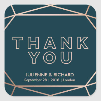 Geometric Gemstone Wedding Thank You  Stickers