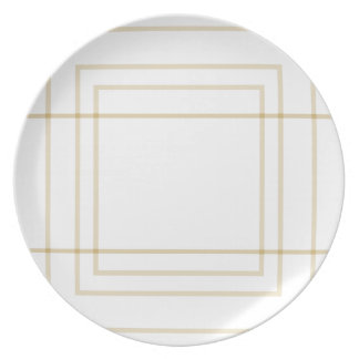 Geometric Gold Concentric Squares Plate