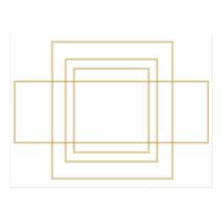 Geometric Gold Concentric Squares Postcard