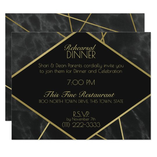 Geometric Gold Lines and Marble Rehearsal Dinner Card
