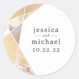 Geometric Gold Marble wedding envelope seal