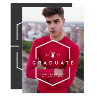 Geometric Grad Light Photo Graduation Announcement