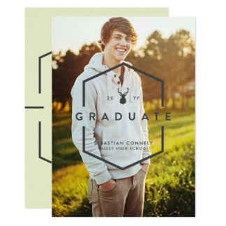 Geometric Grad Photo Dark Graduation Announcement