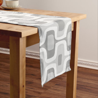 Geometric Gray Mid-Century Pattern Short Table Runner