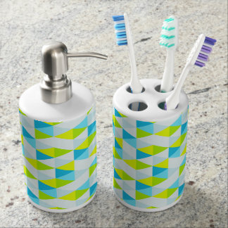 Geometric Green and Blue Triangles Modern Pattern Bathroom Sets