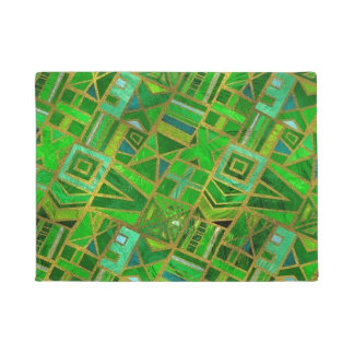Geometric  Green and Gold African Tribal Pattern Doormat