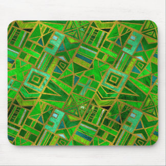 Geometric  Green and Gold African Tribal Pattern Mouse Pad