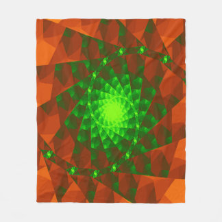 Geometric Green and Orange Fractal Fleece Blanket