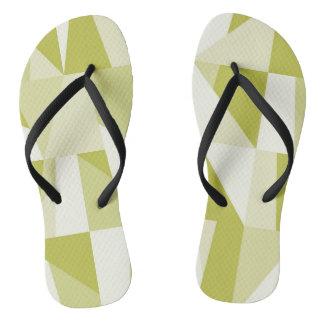 Geometric Green Pattern Flip Flops