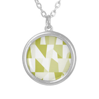 Geometric Green Pattern Silver Plated Necklace