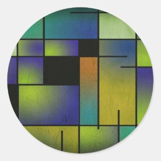 Geometric Greens and Blues Classic Round Sticker