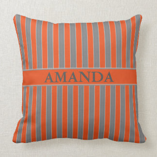 Geometric Grey and Orange Striped Throw Pillow