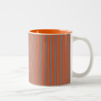 Geometric Grey and Orange Striped Two-Tone Coffee Mug
