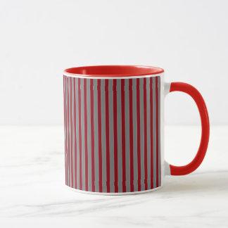 Geometric Grey and Red Striped Mug