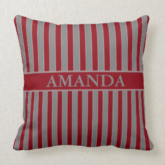 Geometric Grey and Red Striped Throw Pillow