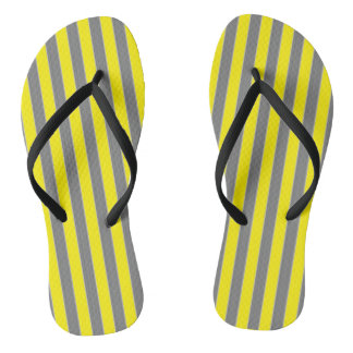 Geometric Grey and Yellow Striped Flip Flops