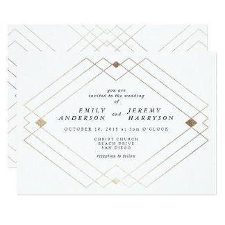 Geometric Grey Gold Deco White Wedding Invitation