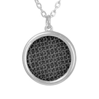 Geometric Grunge Pattern Silver Plated Necklace