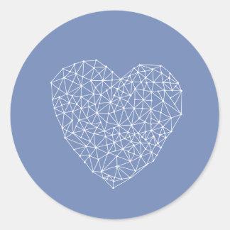 Geometric heart - blue and white classic round sticker