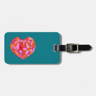 Geometric Heart Luggage Tag