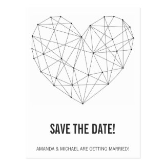 Geometric heart save the date postcard template