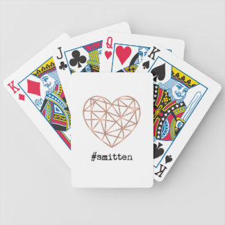 Geometric Heart Smitten Bicycle Playing Cards