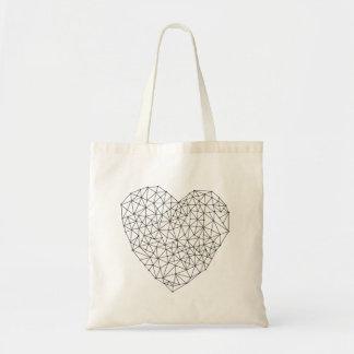 Geometric heart tote bag