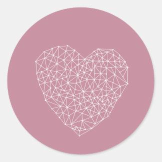 Geometric heart - white on pink classic round sticker