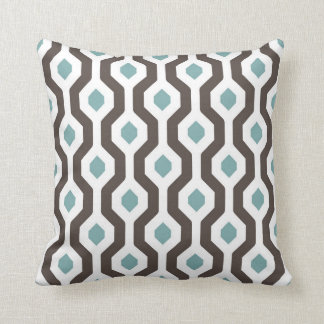 Geometric Hexagon Link Pattern Teal Brown Throw Pillow
