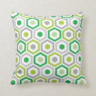 Geometric Hexagon Pattern Pillow | Green Grey