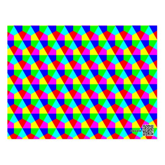 Geometric hexagons red yellow green blue pink postcard