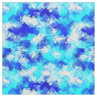 Geometric Ice Aqua and Blue Water Crystal Abstract Fabric