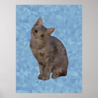 Geometric Kitten Poster