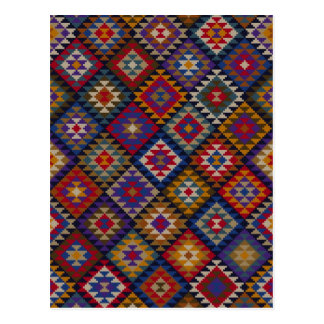 Geometric knitted quilt pattern postcard