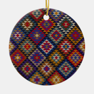 Geometric knitted quilt pattern round ceramic ornament