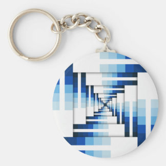 Geometric Layers of Blue Basic Round Button Keychain