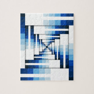 Geometric Layers of Blue Jigsaw Puzzle