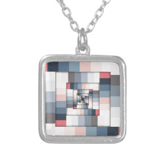 Geometric Layers of Color Silver Plated Necklace
