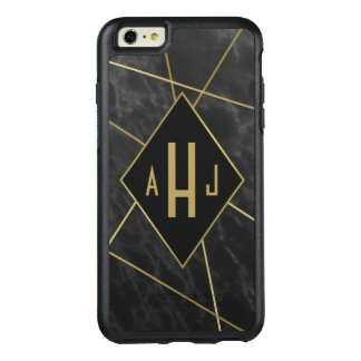 Geometric Lines and Faux Marble Monogram OtterBox iPhone 6/6s Plus Case