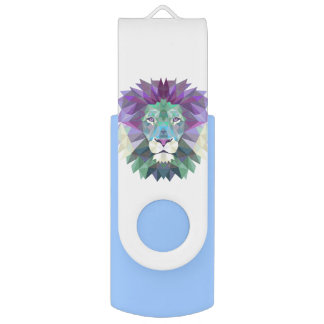 Geometric lion design USB flash drive