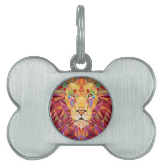 Geometric Lion Pet Name Tag
