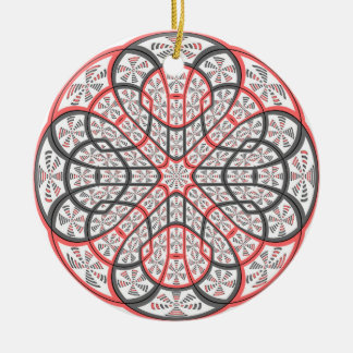 Geometric mandala round ceramic ornament