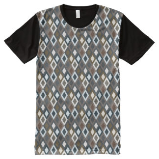 Geometric Men's Printed Panel Pattern blue T-Shirt